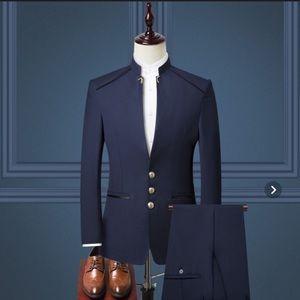 Navy blue suit unique collar